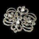 Silver Plated Vintage Rhinestone Swirl Bridal Hair Comb & Brooch Pin - Brooch 46