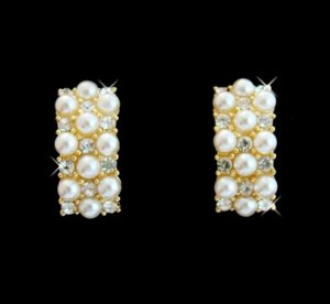 Gold & Ivory Pearl Clip On Earrings E 20613