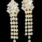 Gold Clear Crystal Dangle Clip On Earrings E 20009