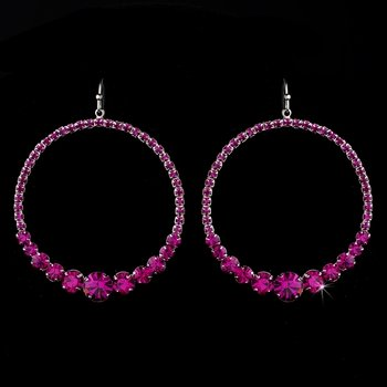 Fuchsia Rhinestone Hoop Earrings E 951