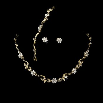 Gold Clear Floral Bridal Jewelry Set NEB 381