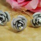 Silver Glitter Crystal Bridal Hair Pin 901 (Set of 12)