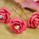 Pink Floral Glitter Hair Pin 901 (Set of 12)