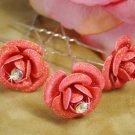 Coral Glitter Crystal Bridal Hair Pin 901 (Set of 12)