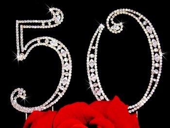 50th Anniversary, 50th Birthday Swarovski Crystal Cake Topper Gold or Silver