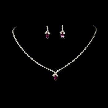 Beautiful Fuchsia Crystal Jewelry Set NE 342