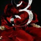 3rd Birthday or Anniversary Wedding Crystal Cake Topper