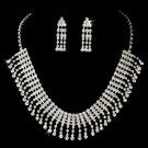 Silver-Clear Rhinestone Choker Necklace & Earring Set NE3094