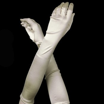 Satin Bridal Bridesmaid Gloves - Ivory