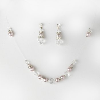 Necklace Earring Set NE 230 Lavender Clear