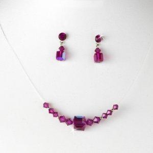 Fuchsia AB Illusion Necklace & Earring Set NE 233