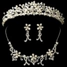 Pearl & Crystal Necklace Earring & Tiara Set NE 7607 HP 7007