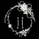 Swarovski Crystal Silver Bridal Necklace Earring & Tiara Set 7802