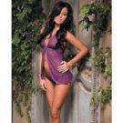 Diamond seduction sheer mesh babydoll & thong purple o/s
