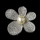Brooch 66 Silver Ivory Clear