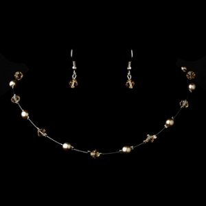 Silver Light Brown Necklace Earring 7220