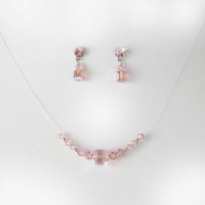 Pink Illusion Necklace & Earring Set NE 233