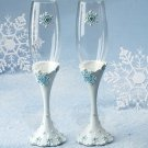 Snowflake Wedding Champagne Toasting Glasses FL 447