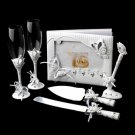 Sparkling Classic Butterfly Toasting Flutes, Cake Server, Guestbook & Pen Set