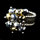 Silver Stretch Ring with Gray and Gold Shadow Crystals 473