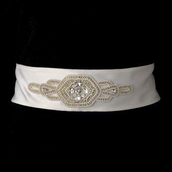 Pearl & Rhinestone Bridal Belt 10 (White or Ivory)