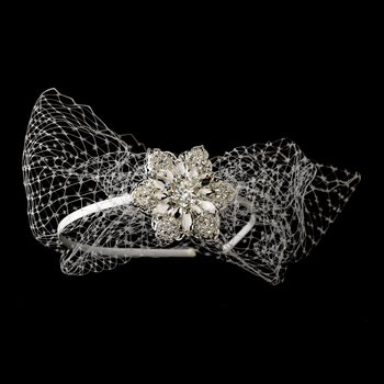 Beautiful Side Accented Bridal Headband with Bird Cage Veil HP 614