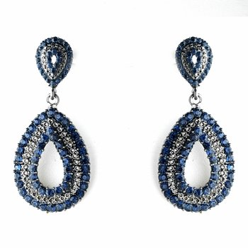 Antique Silver Navy Blue Earring Set 1056