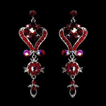 Silver Red Multi Crystal Chandelier Earrings 1031