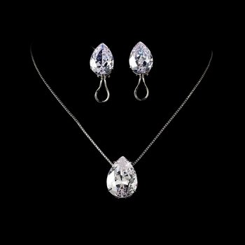Stunning & Sophisticated, Large Cubic Zirconium Teardrop Jewelry Set N 5006 & E 5335