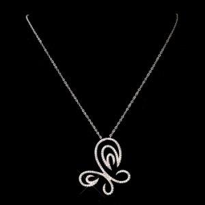 Swirl Butterfly CZ Necklace 8724