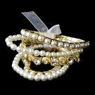 Vintage 5 Strand Gold Pearl & Rhinestone Bracelet Set 8459
