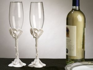 Crystal Heart Lily Wedding Champagne Toasting Flutes FL 404