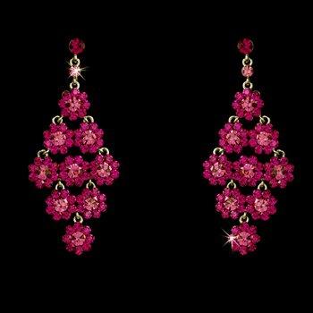 Glamorous Silver & Fuchsia Chandelier Earrings E 939