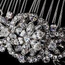 Antique Silver Crystal Bridal Hair Comb 934