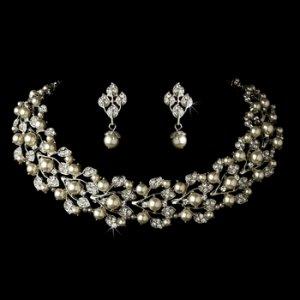 Silver Diamond WhiteNecklace Earring Set NE 969
