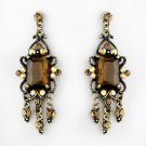 Vintage Silver & Brown Crystal Drop Earrings E 936