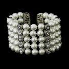 Antique Silver 5 Row White Pearl & Rhinestone Cuff Bridal Bracelet 722