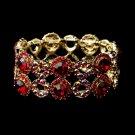Gold Red & AB Crystal Bridal Stretch Bracelet 8658