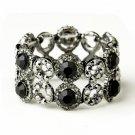 Hematite Black Crystal Bridal Stretch Bracelet 8658