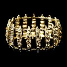 Gold Topaz Crystal Bridal Stretch Cuff Bracelet 8690