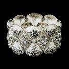 Silver White Clear Crystal Rhinestone Bridal Stretch Bracelet 9240