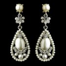 Antique Silver Clear Rhinestone & Diamond White Pearl Bridal Earrings 22585