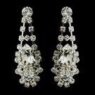 Silver Clear Crystal and Rhinestone Bridal Earrings 70013