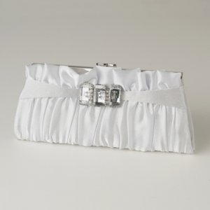 White Satin Crystal Evening Bag 314