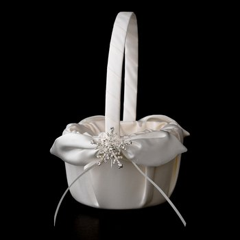 Flower Girl Basket 17 with Silver Clear Winter Snowflake Brooch 30326