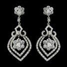 Antique Silver Clear CZ Crystal Flower Bulb Bridal Earrings 8748