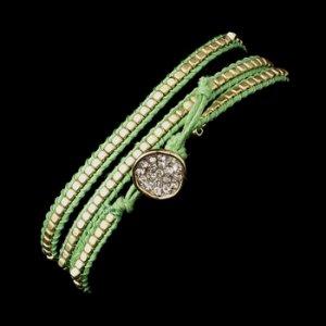Green Studded Bohemian Wrap Bracelet with Rhinestone Adornment 8862