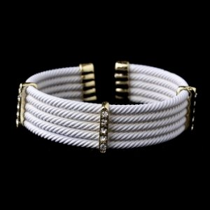 Gold White Rhinestone Coiled Designer Inspired Open Cuff Bangle Bracelet 8865