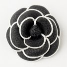 Oldies Black & White Flower Hair Clip 9944 with Brooch Pin