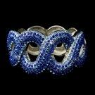 Gotti Majestic Iridescent Blue Rhinestone Bangle Bracelet in Silver 8990